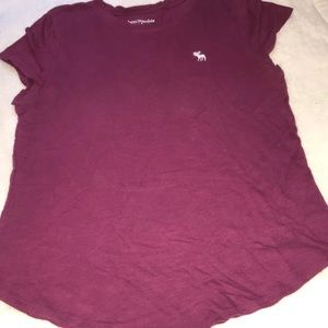 abercrombie kids burgundy tee shirt